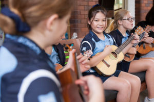 Students at St MIchael's Catholic Primary School Daceyville playing ukeleles