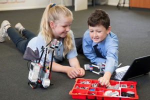 Students at St Michael's Catholic Primary School Daceyville building a robot