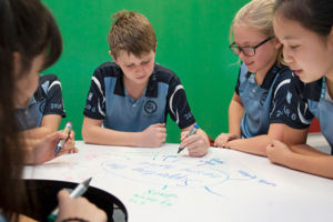 Student leaders at St MIchael's Catholic Primary School Daceyville brainstorming