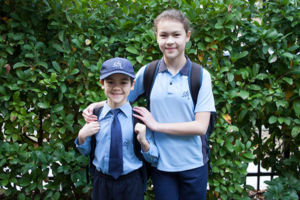 Two students heading to St Michael's Catholic Primary School Daceyville